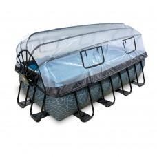 Бассейн Exit Stone 400x200х100 см с песочным фильтром-насосом, куполом, лестницей и тепловым насосом