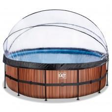 Бассейн Exit Wood 450x122 см с песочным фильтром-насосом, куполом, лестницей и тепловым насосом