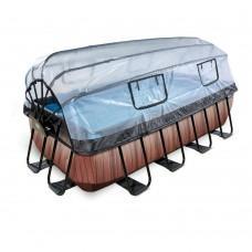 Бассейн Exit Wood 400x200х100 см с песочным фильтром-насосом, куполом, лестницей и тепловым насосом