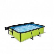 Бассейн Exit Lime 220x150х65 см с фильтром-насосом и тентом