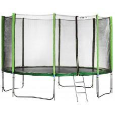 Батут Atleto Green 490 см с внешней сеткой и лестницей