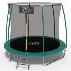 Батут FitToSky Green 252 см с внутренней сеткой и лестницей