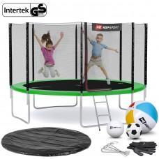 Батут Hop-Sport Green 366 см с внешней сеткой и лестницей
