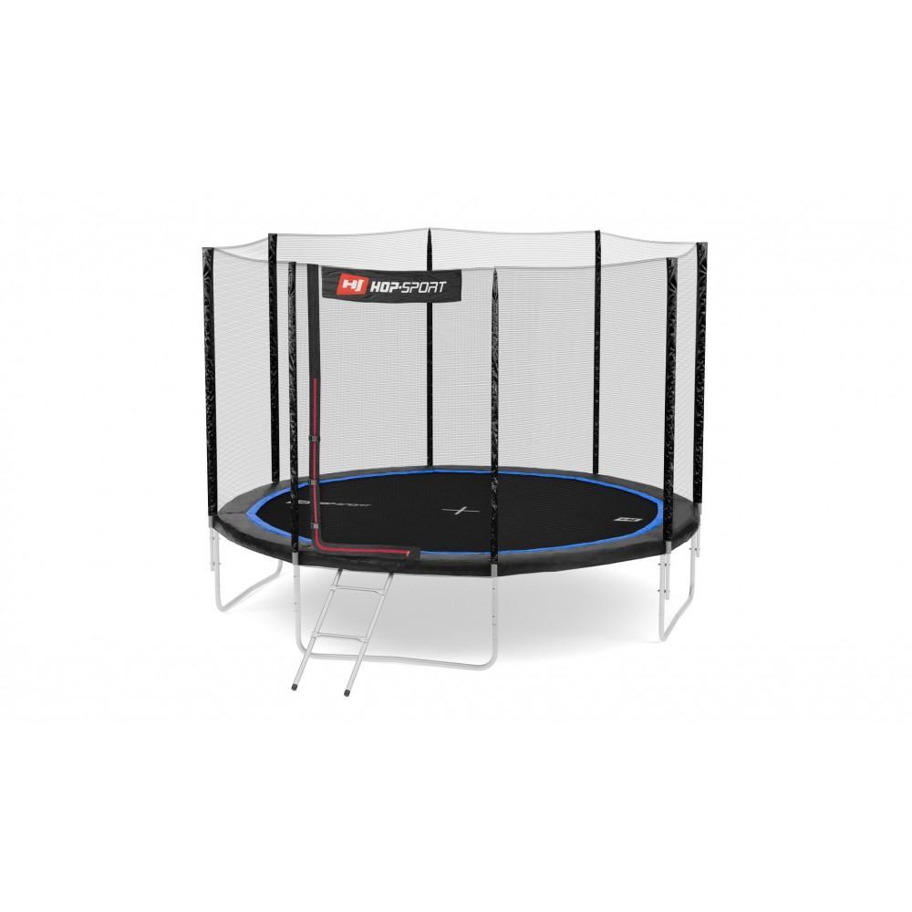 Батут Hop-Sport Black/Blue 305 см с внешней сеткой и лестницей