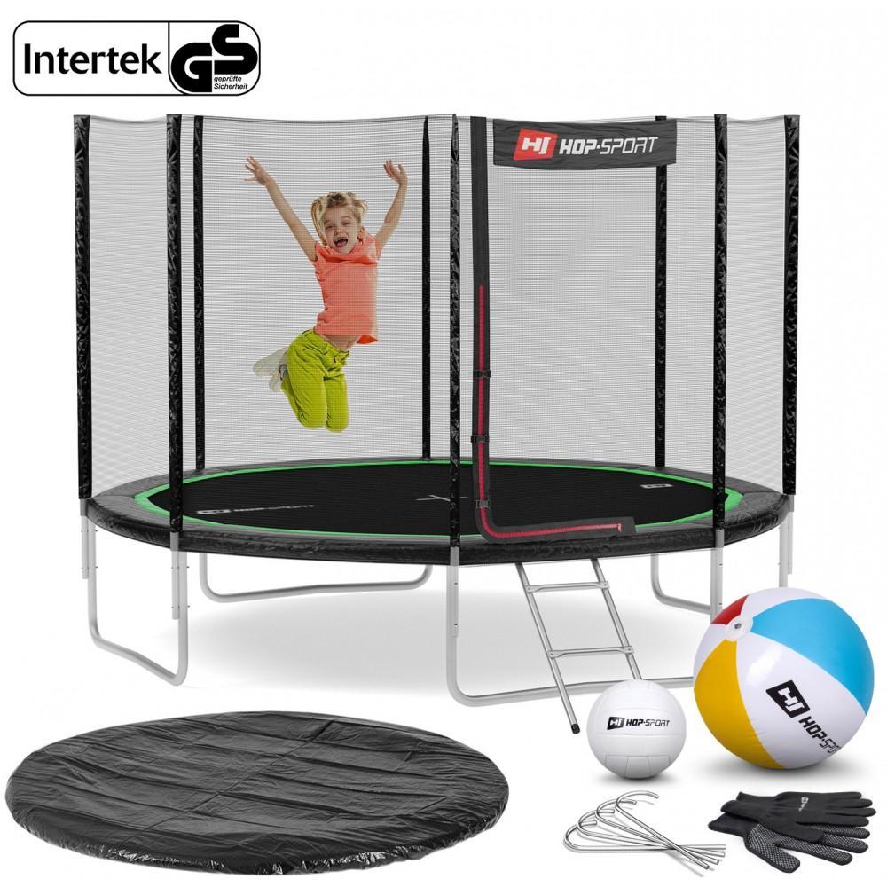 Батут Hop-Sport Black/Green 305 см с внешней сеткой и лестницей