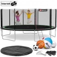 Батут Hop-Sport Black/Green 488 см с внешней сеткой и лестницей