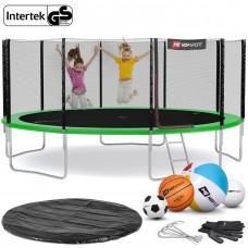 Батут Hop-Sport Green 488 см с внешней сеткой и лестницей