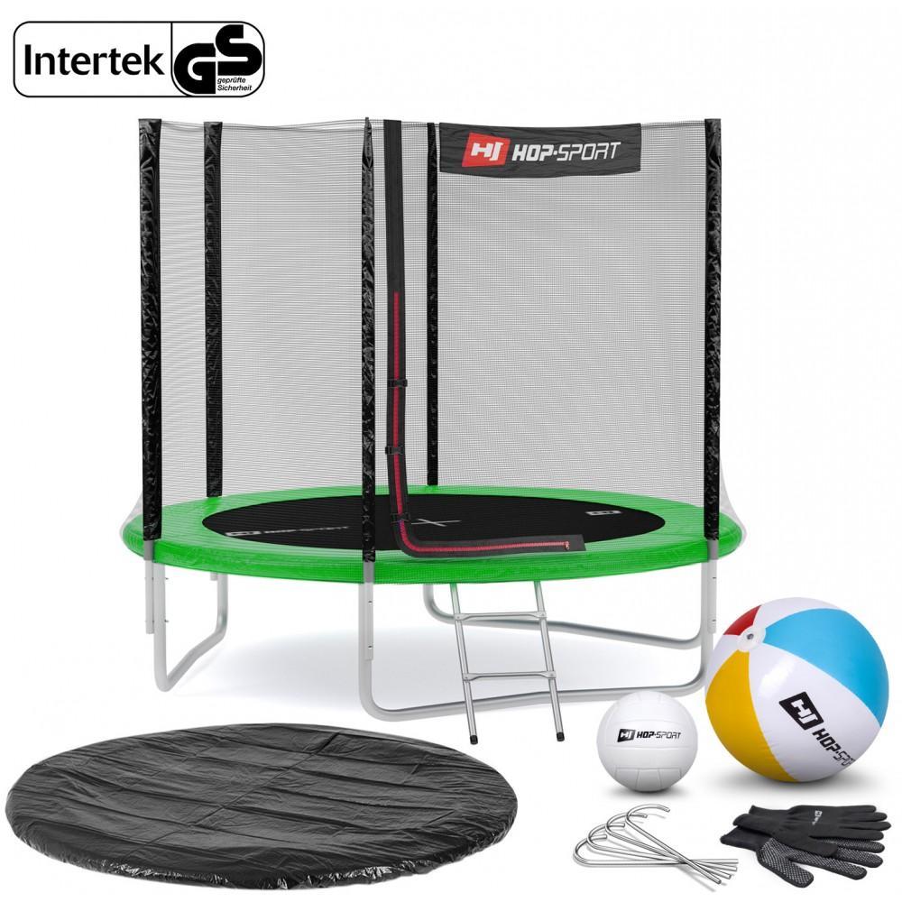 Батут Hop-Sport Green 244 см с внешней сеткой и лестницей