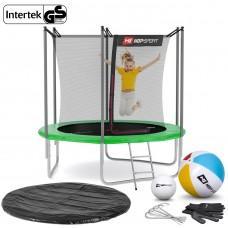 Батут Hop-Sport Green 244 см с внутренней сеткой и лестницей
