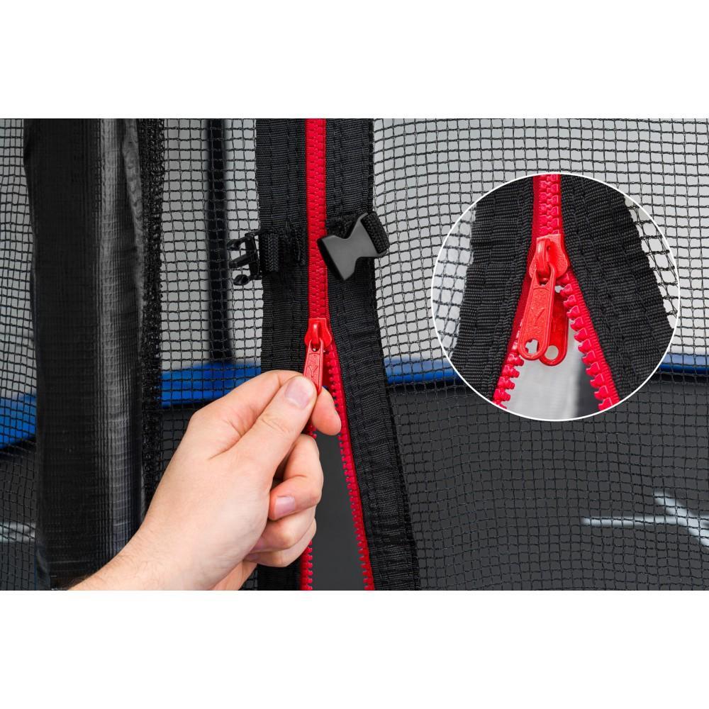 Батут Hop-Sport Black/Blue 244 см с внешней сеткой и лестницей