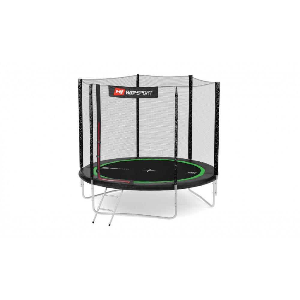 Батут Hop-Sport Black/Green 244 см с внешней сеткой и лестницей